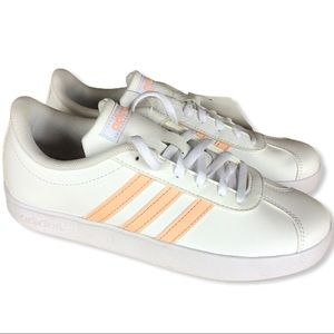 ADIDAS VL COURT 2.0 white with pink stripes size 3